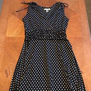 AA STUDIO AA Deep V-Neck Polka Dot A-Line Dress
